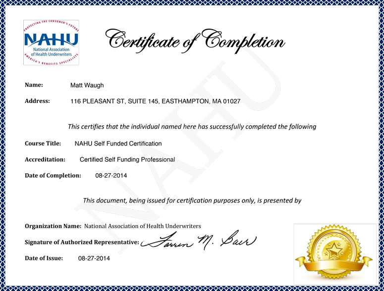NAHU-SELF-FUNDED-CERTIFICATE-WAUGH-AGENCY-2014